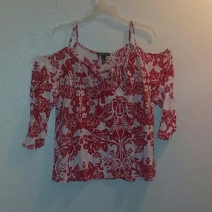INC red and white floral cold shoulder blouse